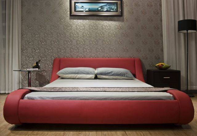 Greatime Contemporary Vinyl Platform Bed